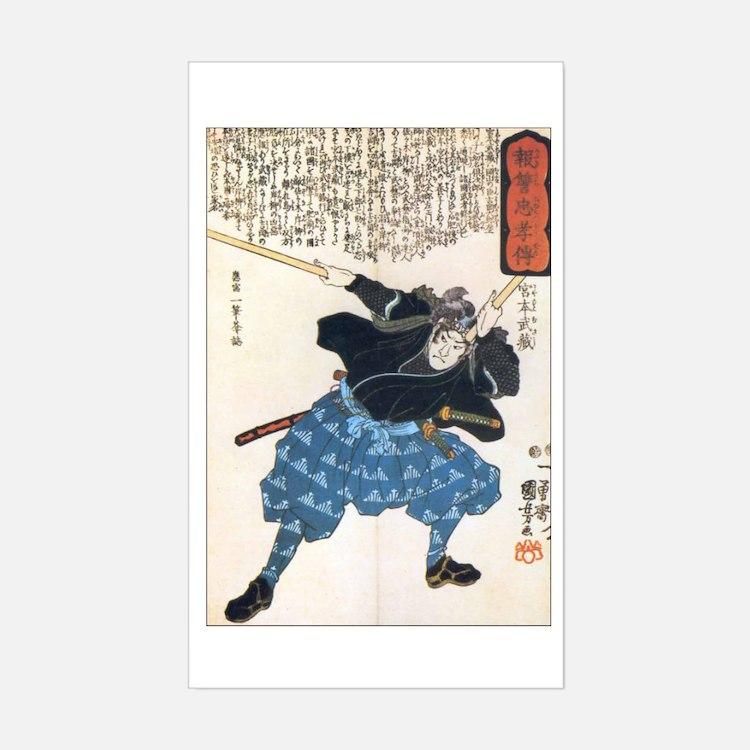 Miyamoto Musashi Two Swords Rectangle Decal