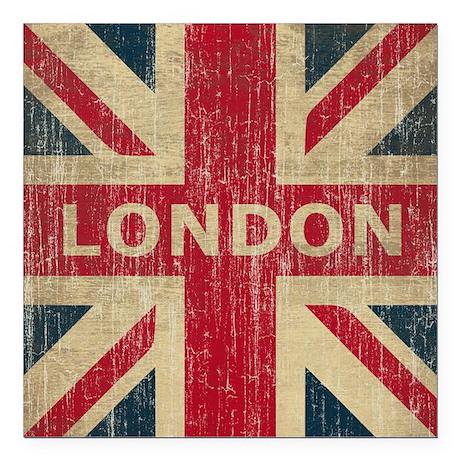 """Vintage London Square Car Magnet 3"""" x 3"""""""