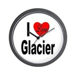 I Love Glacier Wall Clock
