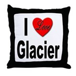 I Love Glacier Throw Pillow