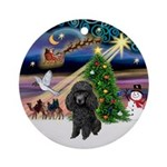 Xmas Magic & Black Poodle Ornament (Round)