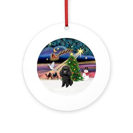 Xmas Magic & Black Poodle Ornament (Round)