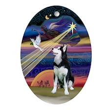 Xmas Star & Siberian Husky Oval Ornament