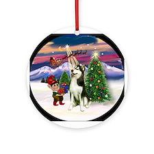 Santa's Take Off & Siberian Husky Ornament (Round)