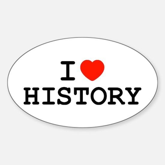 I Heart History Oval Decal