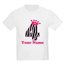4th Birthday Zebra T-Shirt