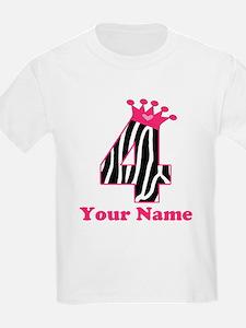 4th Birthday Zebra T-Shirt