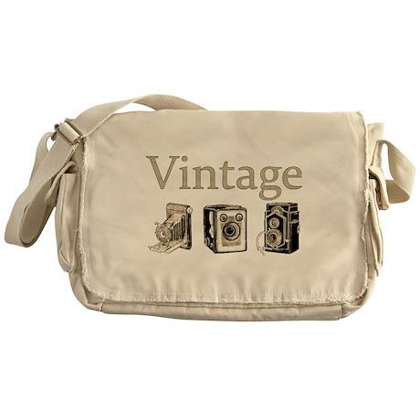 Vintage-Tan and Black Messenger Bag