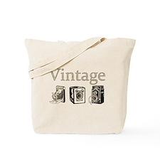 Vintage-Tan And Black Tote Bag