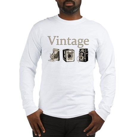Vintage-Tan and Black Long Sleeve T-Shirt