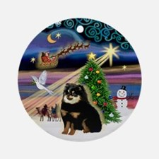 Xmas Magic-Black & Tan Pom Ornament (Round)