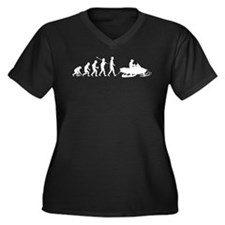 Snowmobile Women's Plus Size V-Neck Dark T-Shirt