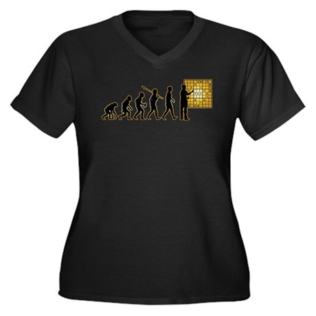 Sudoku Women's Plus Size V-Neck Dark T-Shirt