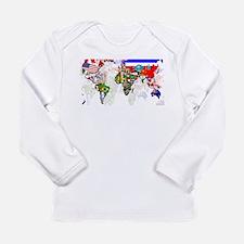 World Flag Map Long Sleeve Infant T-Shirt