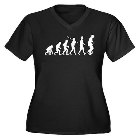 Unicycling Women's Plus Size V-Neck Dark T-Shirt