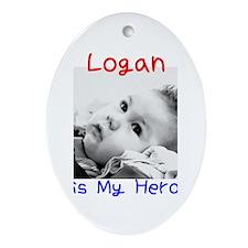 Logan is My Hero Oval Ornament