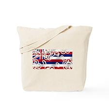 Hawaiian Floral Flag Tote Bag