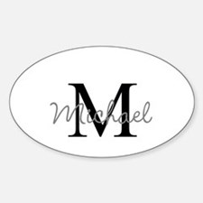 Customize Monogram Initials Sticker (Oval)