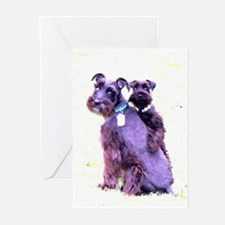 Black Schnauzer Puppy Love Greeting Cards (Pk of 2