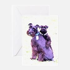 Black Schnauzer Puppy Love Greeting Card