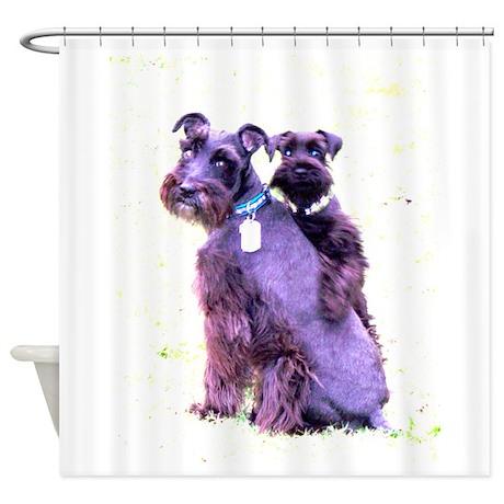 Black Schnauzer Puppy Love Shower Curtain