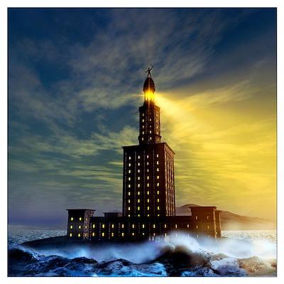 Pharos lighthouse of Alexandria, artwork Poster