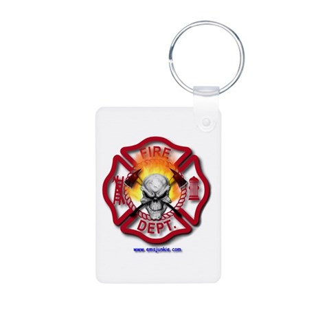 Maltese Cross Flaming Skull Keychain