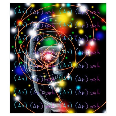 Particle tracks, equations and head Canvas Art