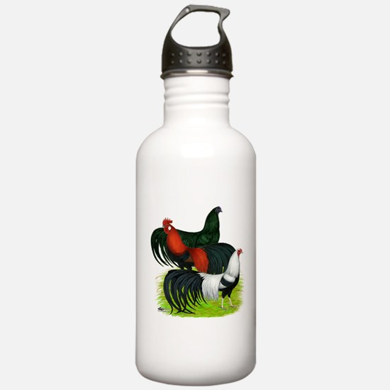 Long Tailed Roosters Water Bottle