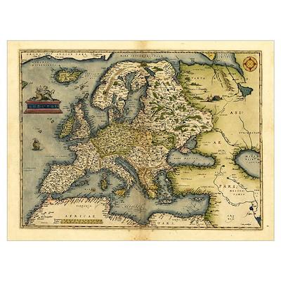 Ortelius's map of Europe, 1570 Poster