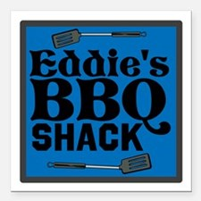 "Personalized BBQ Square Car Magnet 3"" x 3"""