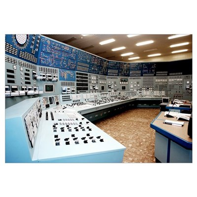 Nuclear power station control room Framed Print