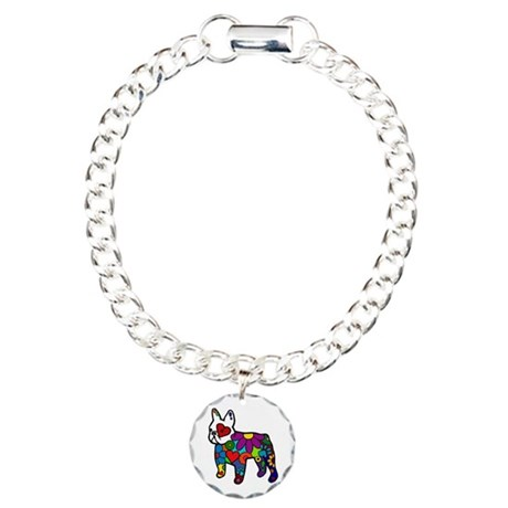 Frenchie Power Charm Bracelet, One Charm