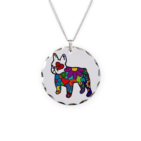 Frenchie Power Necklace Circle Charm