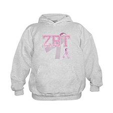 ZBT initials, Pink Ribbon, Hoodie