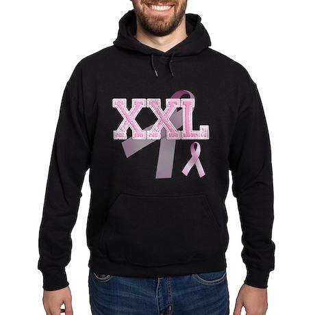 XXL initials, Pink Ribbon, Hoodie (dark)
