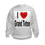 I Love Grand Teton (Front) Kids Sweatshirt