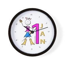 1st Jan Wall Clock
