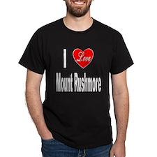I Love Mount Rushmore (Front) Black T-Shirt