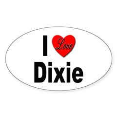 I Love Dixie Oval Decal
