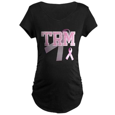 TRM initials, Pink Ribbon, Maternity Dark T-Shirt