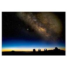 Milky way and observatories, Hawaii Canvas Art