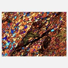 Mica schist, thin section, polarised LM