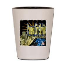 panama city skyline dynamic art Shot Glass