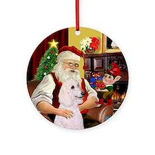 Santa's White Poodle (ST) Ornament (Round)