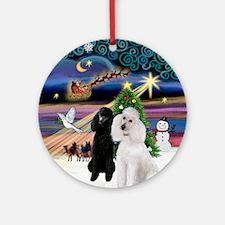 Xmas Magic & 2 Poodles (ST) Ornament (Round)