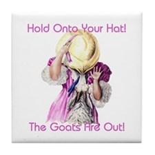 Goats- Hold onto Your Hat! Tile Coaster