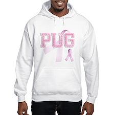 PUG initials, Pink Ribbon, Hoodie