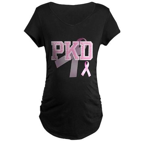 PKD initials, Pink Ribbon, Maternity Dark T-Shirt