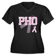 PHO initials, Pink Ribbon, Women's Plus Size V-Nec